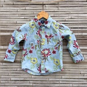 GAP . DENIM CHAMBRAY FLORAL SHIRT . 3T . UNISEX